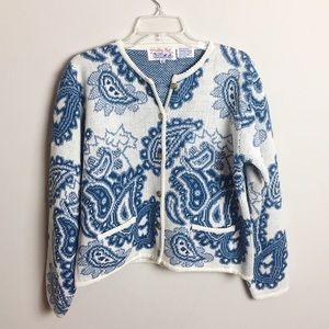 Blue White Paisley Vintage Cardigan Sweater